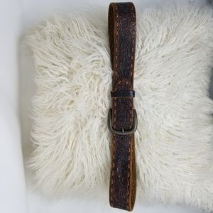 A & F | Brown Leather Laced Retro Distressed Belt